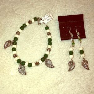 New charm bracelet and earrings with leaves
